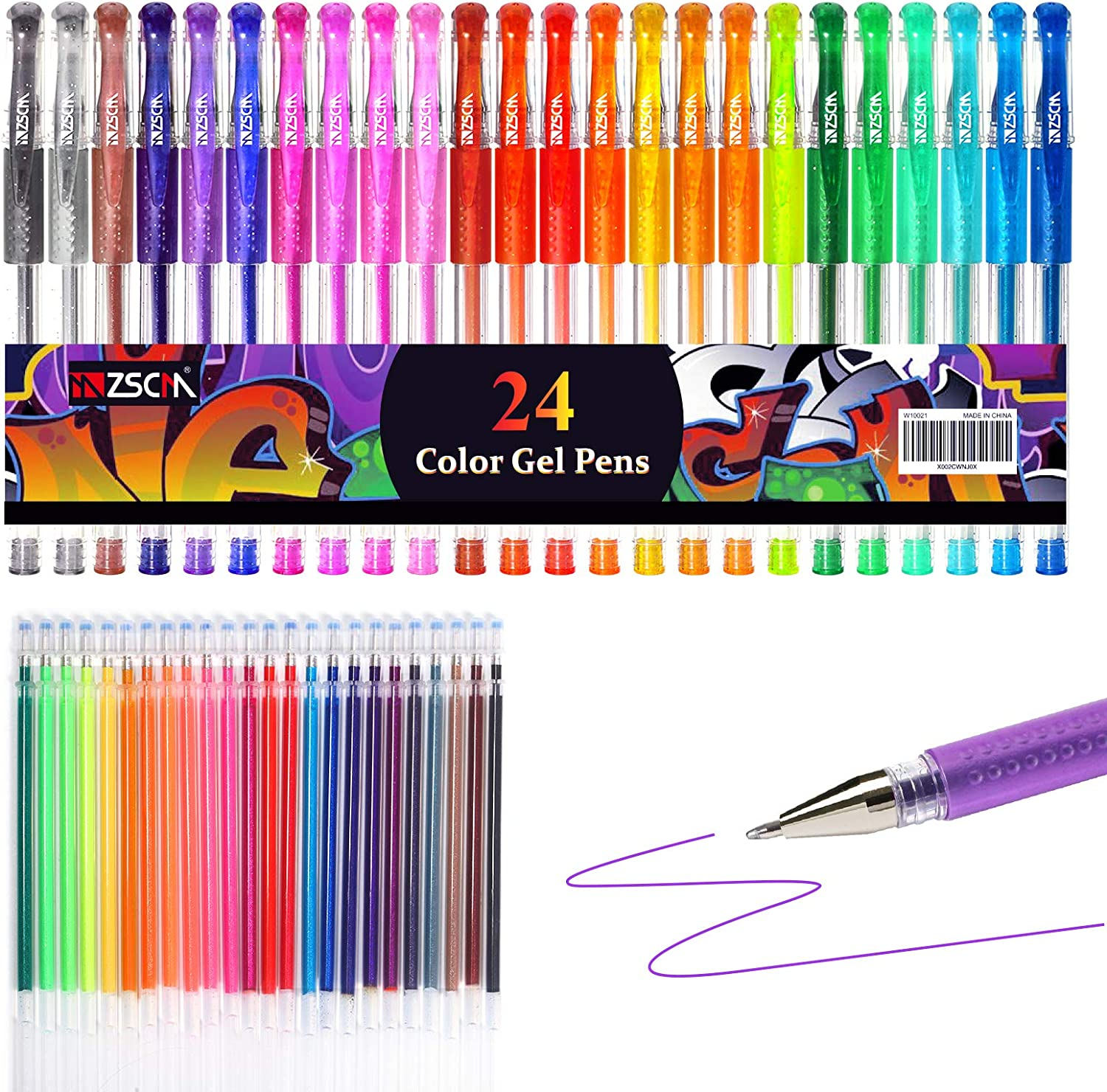 48 Color//SET Non-Toxic Gel Pen Refill Multi Colored Painting Gel Ink Ballpoint Pens Refills Rod for Handle School Stationery