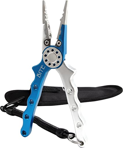 """P-Line • 6.5"""" ALUMINUM FISHING PLIERS WITH HOLSTER-Silver//Blue Free Shipping"""