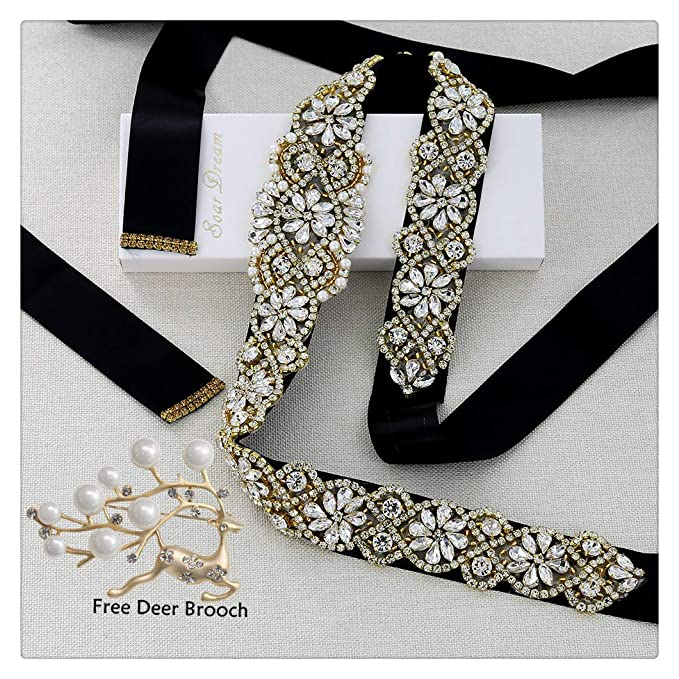 Black Bridal Dress Sashes Gold Crystal Applique With Clear
