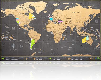Cartina Mondo Gratta.Mappa Del Mondo Da Grattare Ultra Dettagliata Con Tutti Gli Stati Uniti Kit Di Accessori E