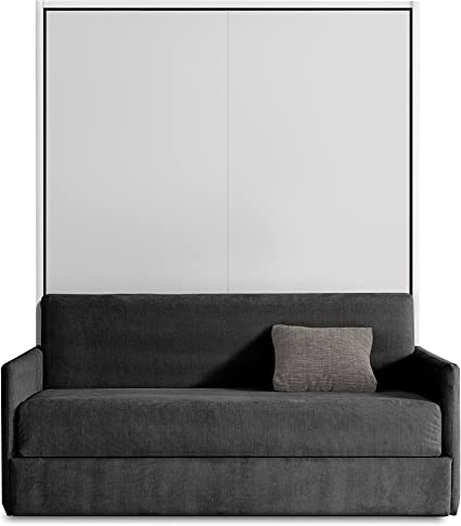 Otto - Mueble de cama abatible con sofá, color blanco y gris ...