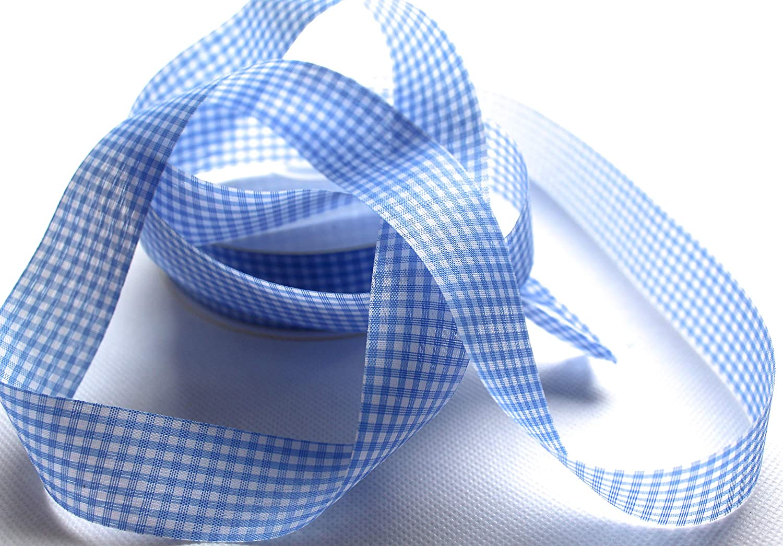 Kleines Karo Hellblau, 50m 25mm CaPiSo/® Karoband Vichy Geschenkband Landhaus Schleifenband Vichykaro Dekoband