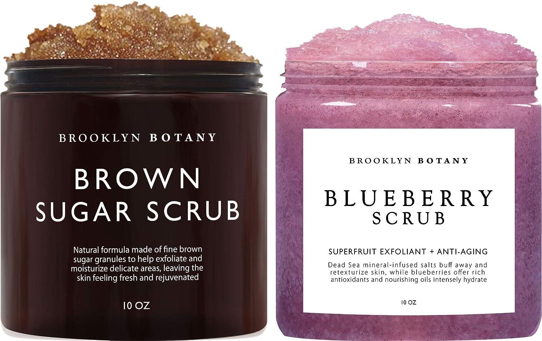 Brooklyn Botany Brown Sugar Body Scrub & Blueberry Body Scrub - Exfoliating Body Scrubs – Anti Aging Scrub Helps Fight Stretch Marks, Cellulite, Spider Veins and Eczema – Gift for Women - 10 oz