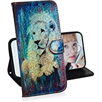 Creative Wallet Case for iPhone 6 Plus / 6S Plus,Mylne Change Color Colorful Painted Design PU Glitter Leather Flip Cover with Card Holder Stand Case,Lion