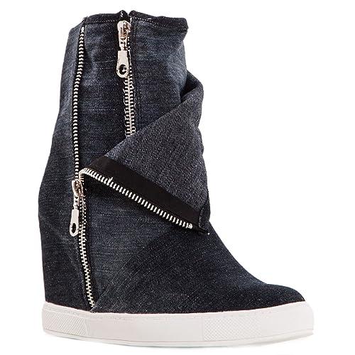 c1ae349871d5 Toocool - Scarpe Donna Stivaletti Jeans Denim Zip Sneakers Zeppa Interna  Nuove BBJ7178 [41,Nero]: Amazon.it: Scarpe e borse