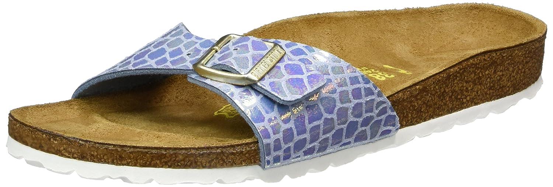 BIRKENSTOCK Classic Arizona Birko-Flor, Damen Pantoletten, Blau (Shiny Snake Sky), 37 EU