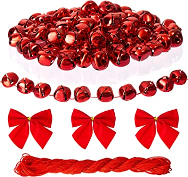 100Pack 1 Inch Red Jingle Bells Christmas Craft Bells Red Bells for Christmas /& Party /& Festival Decorations with 27m Red Cord