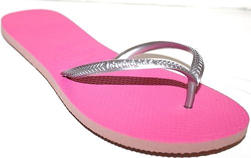 e42abbf4c86017 Havaianas Women s Slim Flip Flops - Silver Gray Straps on Fuchsia Pink  Insole (US 9
