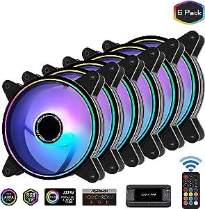 EZDIY-FAB Moonlight 120mm RGB Caso Ventilador con 10 Port Hub X y Remote,Placa Base Aura Sync,Control de Velocidad,Ventilador Direccionable para PC Case-6 Pack: Amazon.es: Electrónica