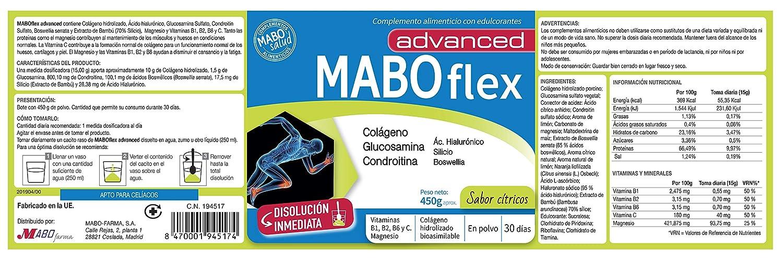 MABOflex Advanced Colágeno Hidrolizado en Polvo con Acido Hialurónico Magnesio Vitamina B1 B2 B6 Glucosamina Condroitina Bote 450 g Sabor Cítricos