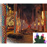 Vickerman Multicolored LED Christmas Net Style Tree Trunk Wrap Lights with Green Wire, 2' x 8'