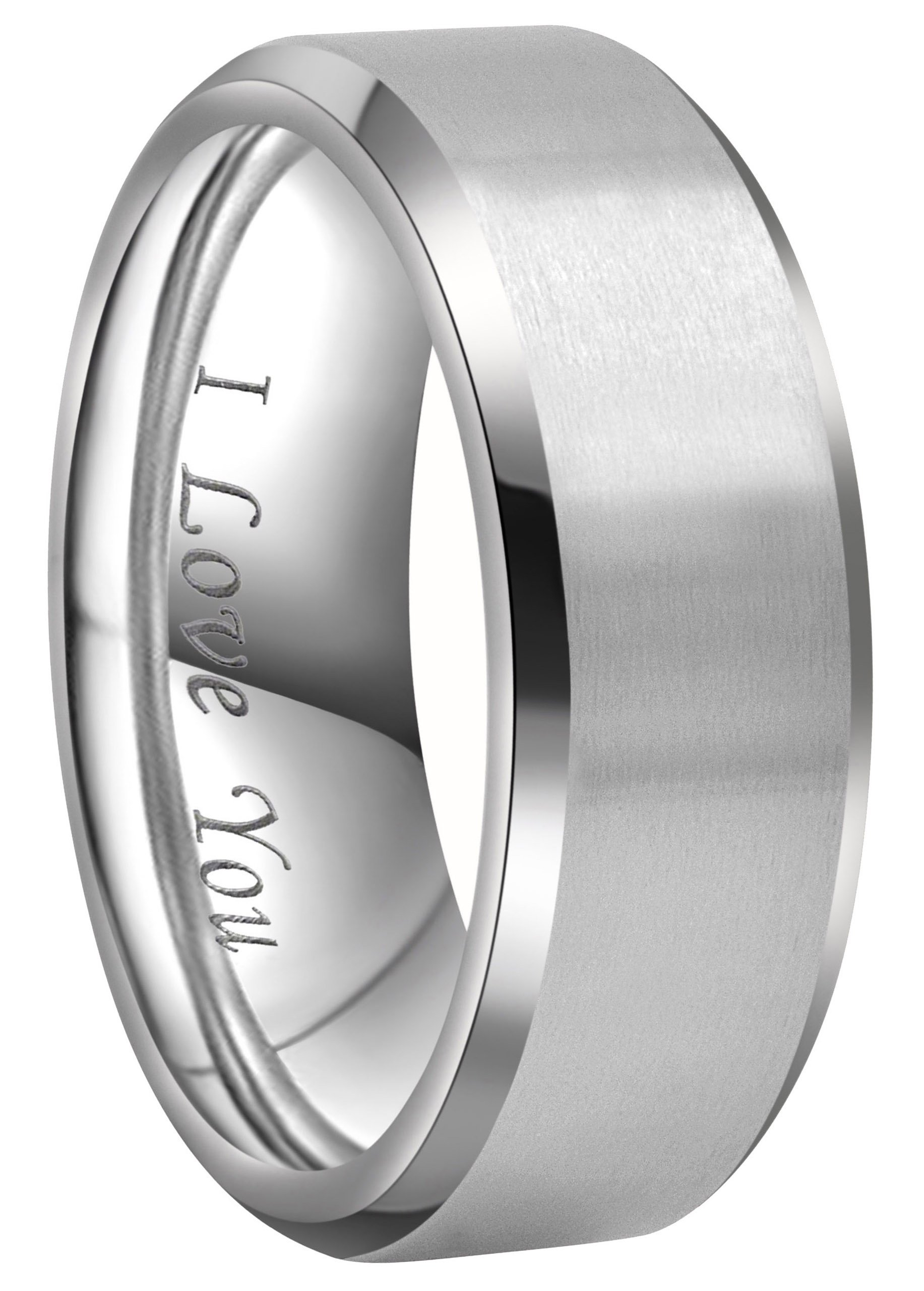 Crownal 4mm 6mm 8mm Titanium Wedding Couple Bands Rings Men Women Matte Brush Center Beveled Edges Engraved ''I Love You'' Comfort Fit Size 4 To 16 (8mm,8)