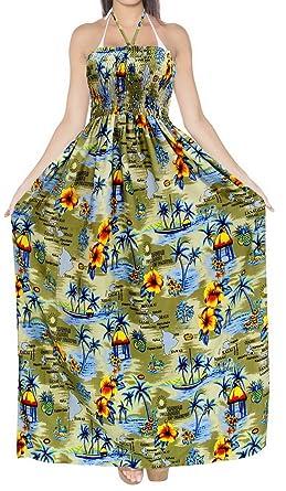64f2110ce0 LA LEELA Soft Printed Long Top Strap Tube Dress Womens Khakhi 285 One Size