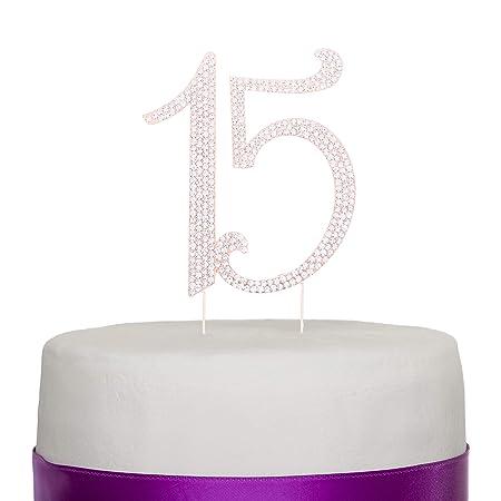 Decoración para tarta de quinceañera, número quince de metal ...
