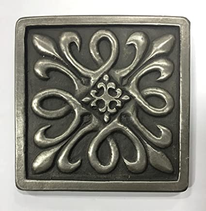 Silver Metallic Nickel X Resin Decorative Insert Accent Piece Tile - Decorative 4x4 metal tiles