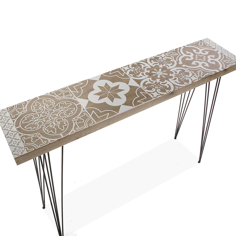 Bianco 80x25x110 cm Legno e Metallo Versa 20361010 Tavolo da Ingresso Dallas
