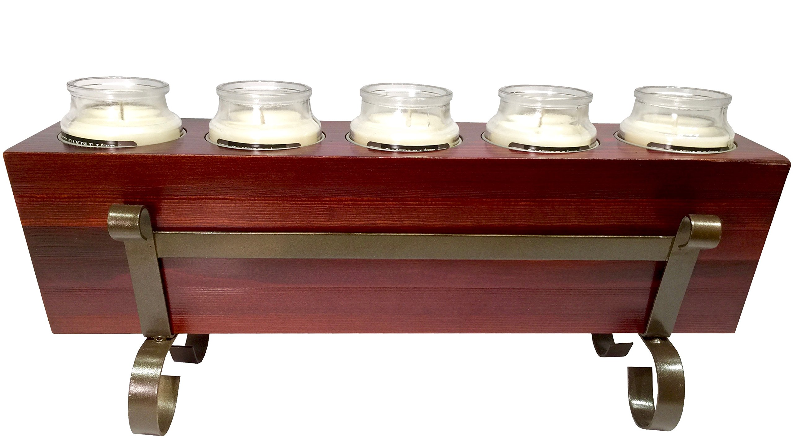 Wood Sugarmold Candle Holder Set - 5 Hole Tealight Candle Holder Includes Metal Base Stand and Tin Cups Succulent Holder Modern Home Decor - New in Gift Box! (5 Hole)