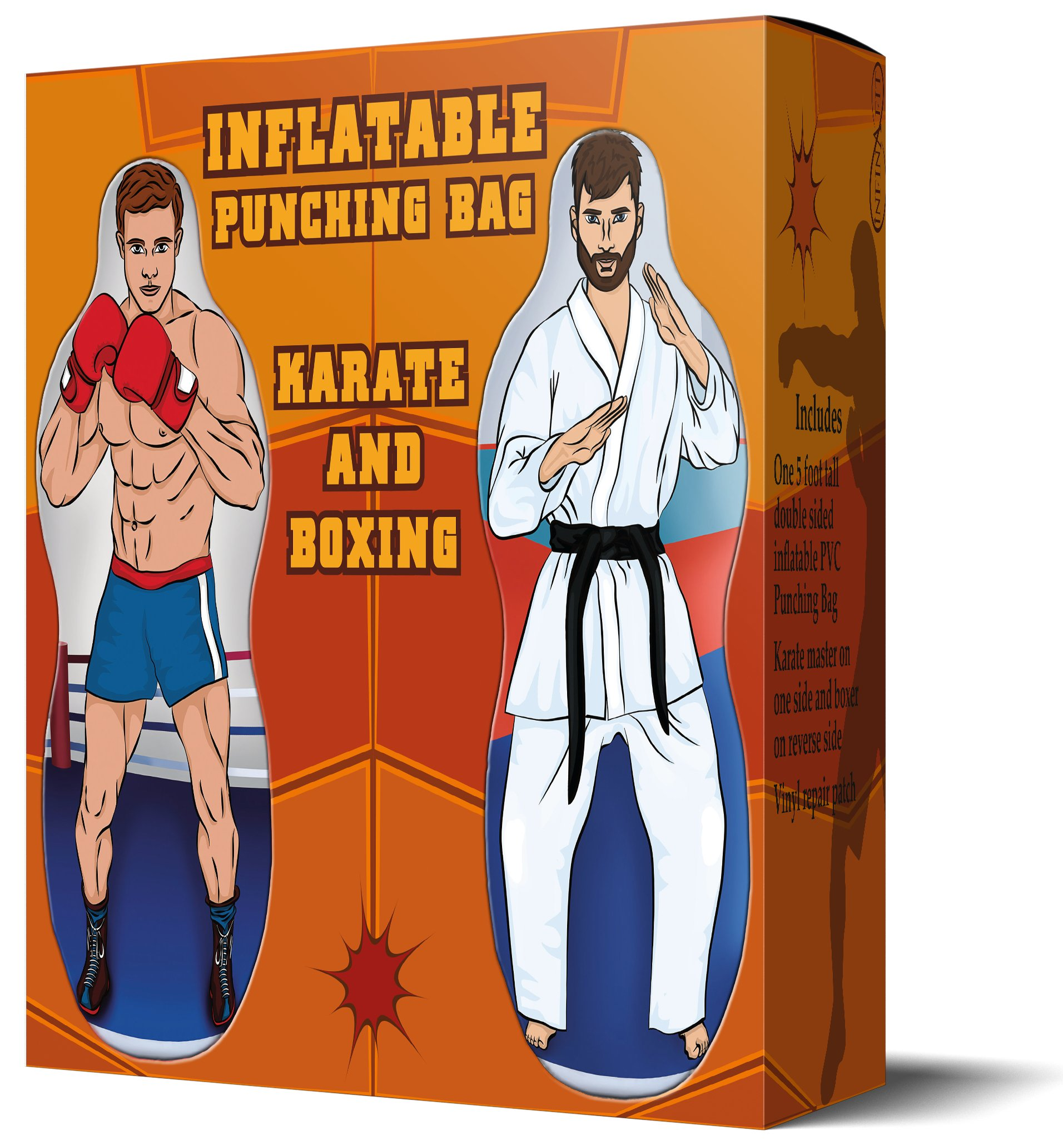 Infinafit Inflatable Two Sided Karate and Boxing Punching Bag   Includes One Inflatable 5 Foot Tall Bop Bag with Illustration of a Karate Master on One Side and Boxer on Reverse Side by ImpiriLux (Image #5)