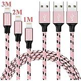 Câble lightning, YEONPHOM 3 pack, 1M 2M 3M, cable iPhone Nylon Tressé USB lightning pour iPhone 7/7 plus / 6S / 6S Plus / 6/6 Plus / 5 / 5S / 5 C / SE / iPad et iPod (Noir/Or Rose)