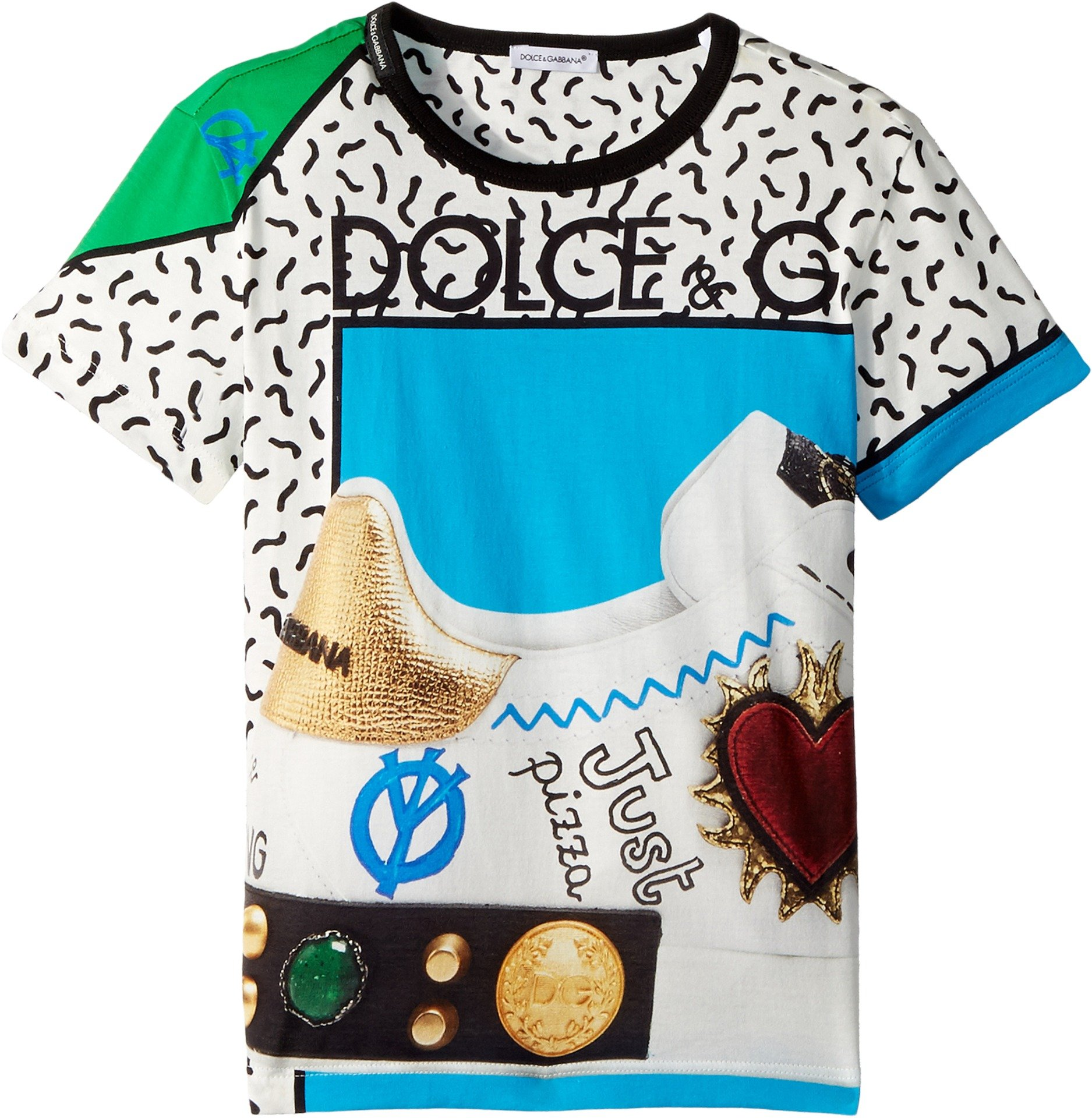 Dolce & Gabbana Kids Baby Boy's Scarpe Print T-Shirt (Toddler/Little Kids) Turquoise 5