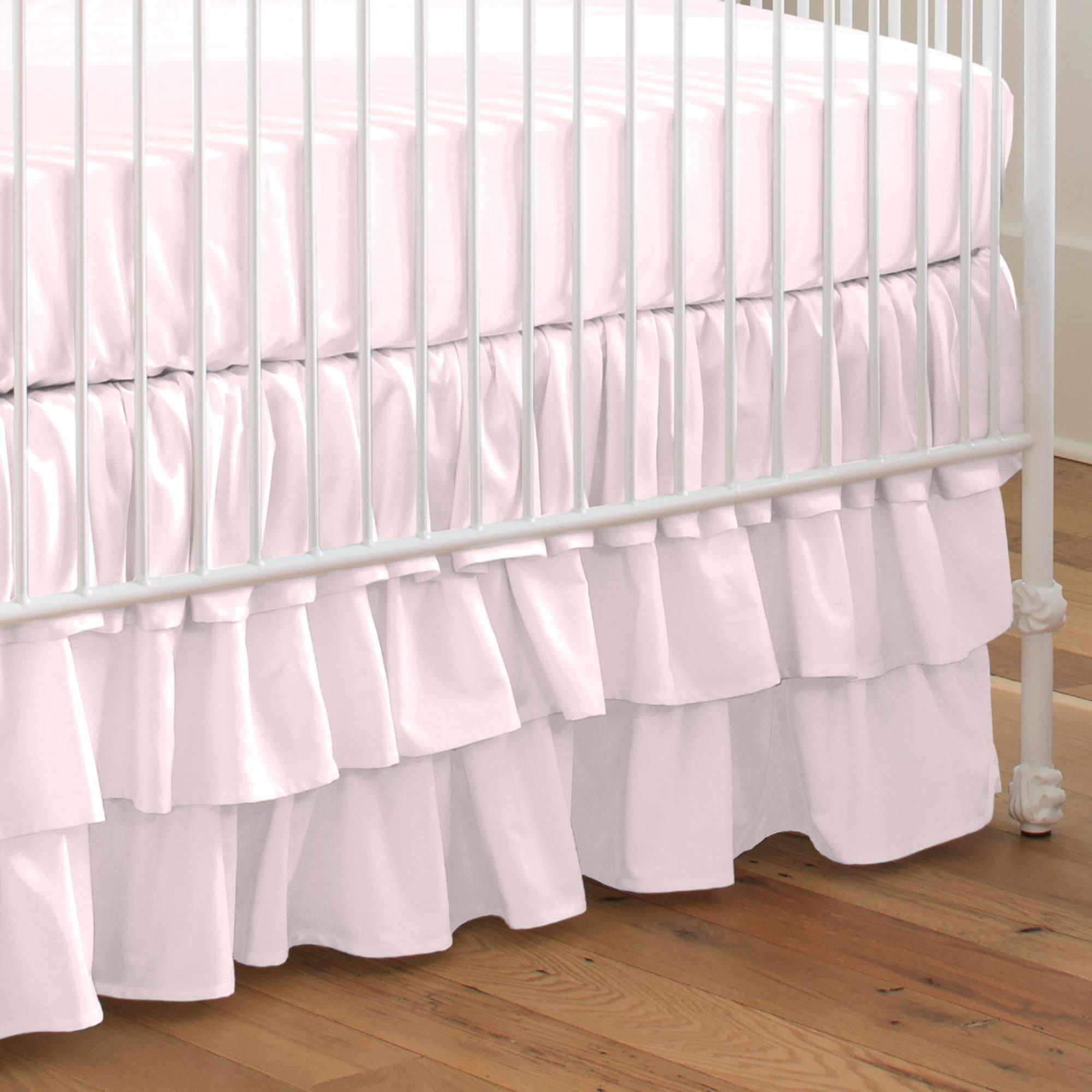 Carousel Designs Solid Pink Crib Skirt Three Tier 18-Inch Length