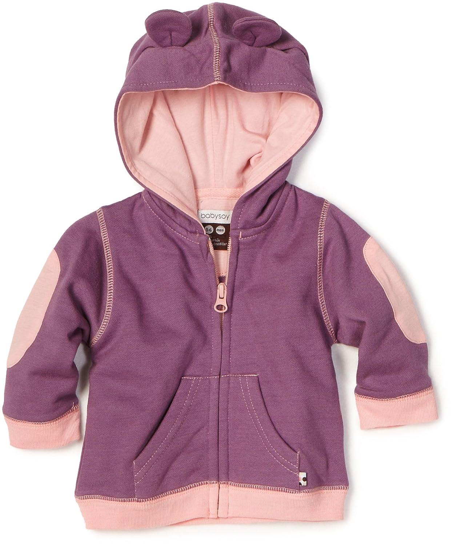 Babysoy Baby-Girls Newborn Soft Fleece Hoodie Eggplant