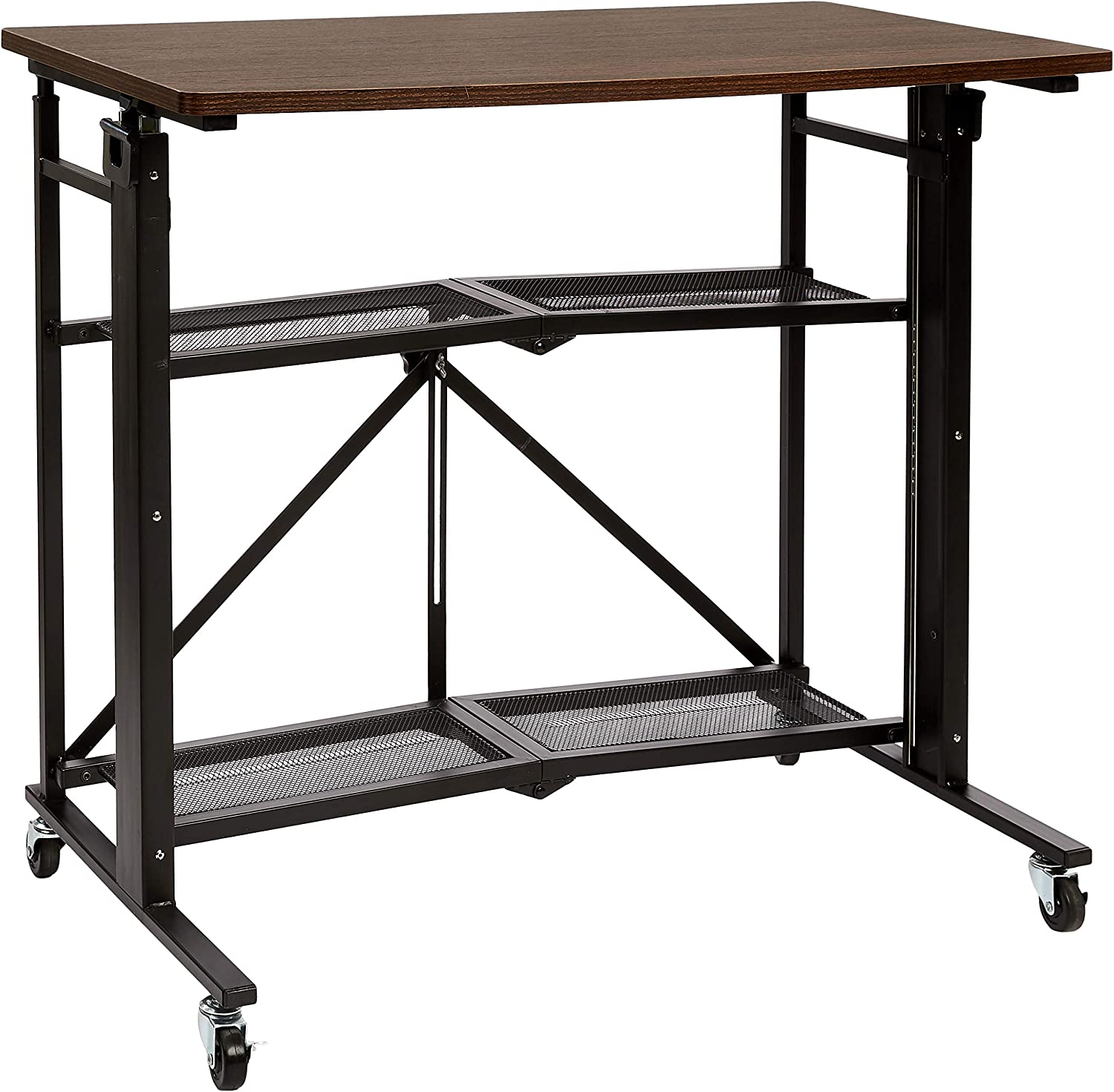 AmazonBasics Foldable Standing Computer Desk with Storage Shelf, Adjustable Height, Easy Assembly - Espresso