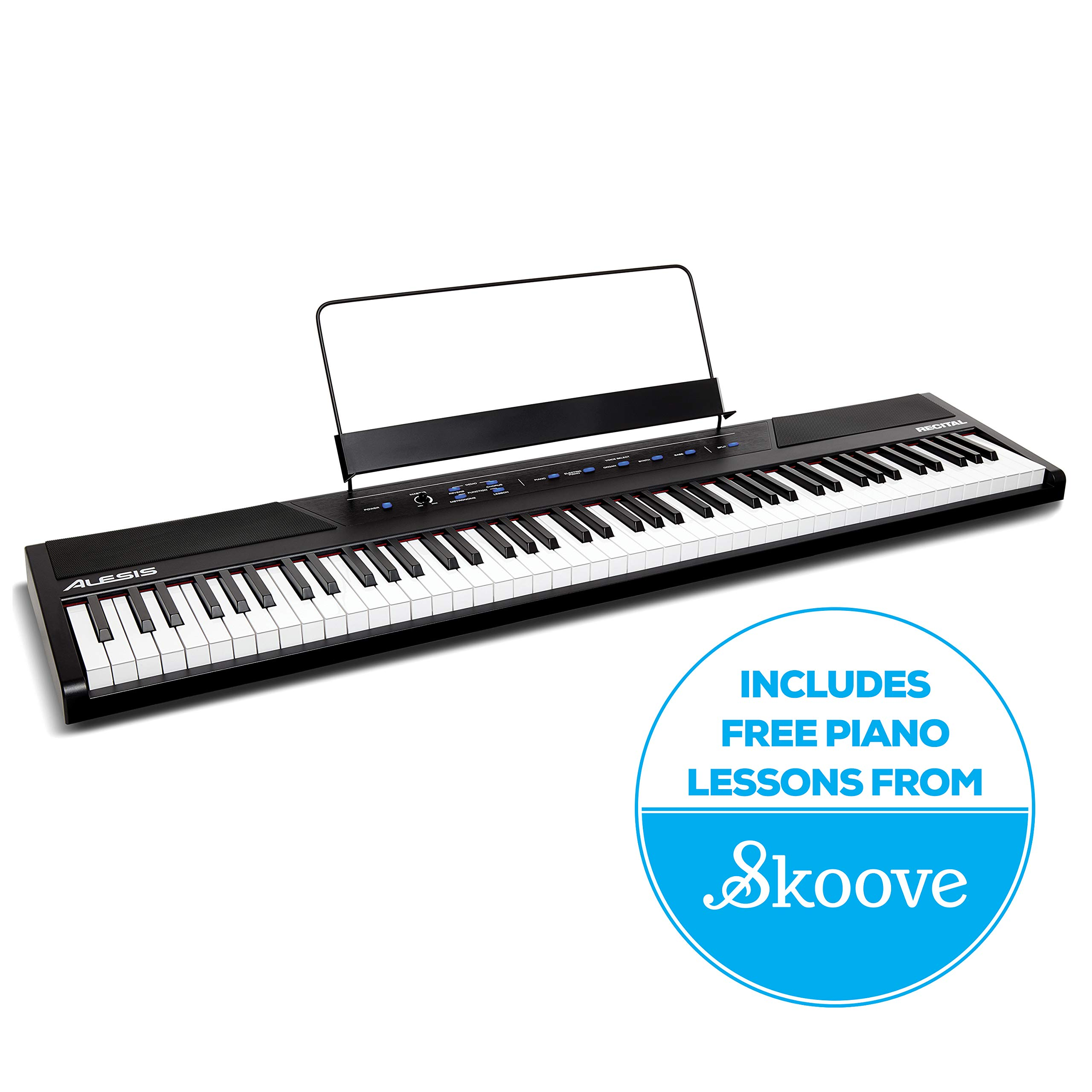 Alesis Recital | 88 Key Beginner Digital Piano / Keyboard with Full Size Semi Weighted Keys, Power Supply, Built In Speakers and 5 Premium Voices (Amazon Exclusive) by Alesis