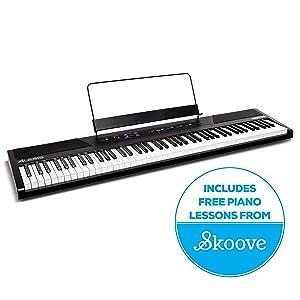 Alesis Recital - Piano / Teclado Digital de 88 Teclas Semi-contrapesadas de Tamaño Completo, Fuente de Alimentación, Altavoces Incorporados y 5 voces de Primera Calidad, diseñado para principiantes