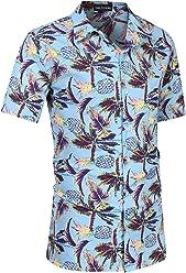 2830a8d3289b Yong Horse Men s Hawaiian Shirt Pineapple Casual Button Down Short Sleeve  Beach Aloha Shirt