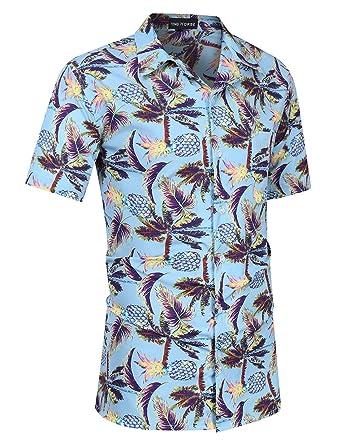6b0c31b49d4d Yong Horse Mens Aloha Shirt Pineapple Print Casual Button Down Short Sleeve Hawaiian  Shirt (S