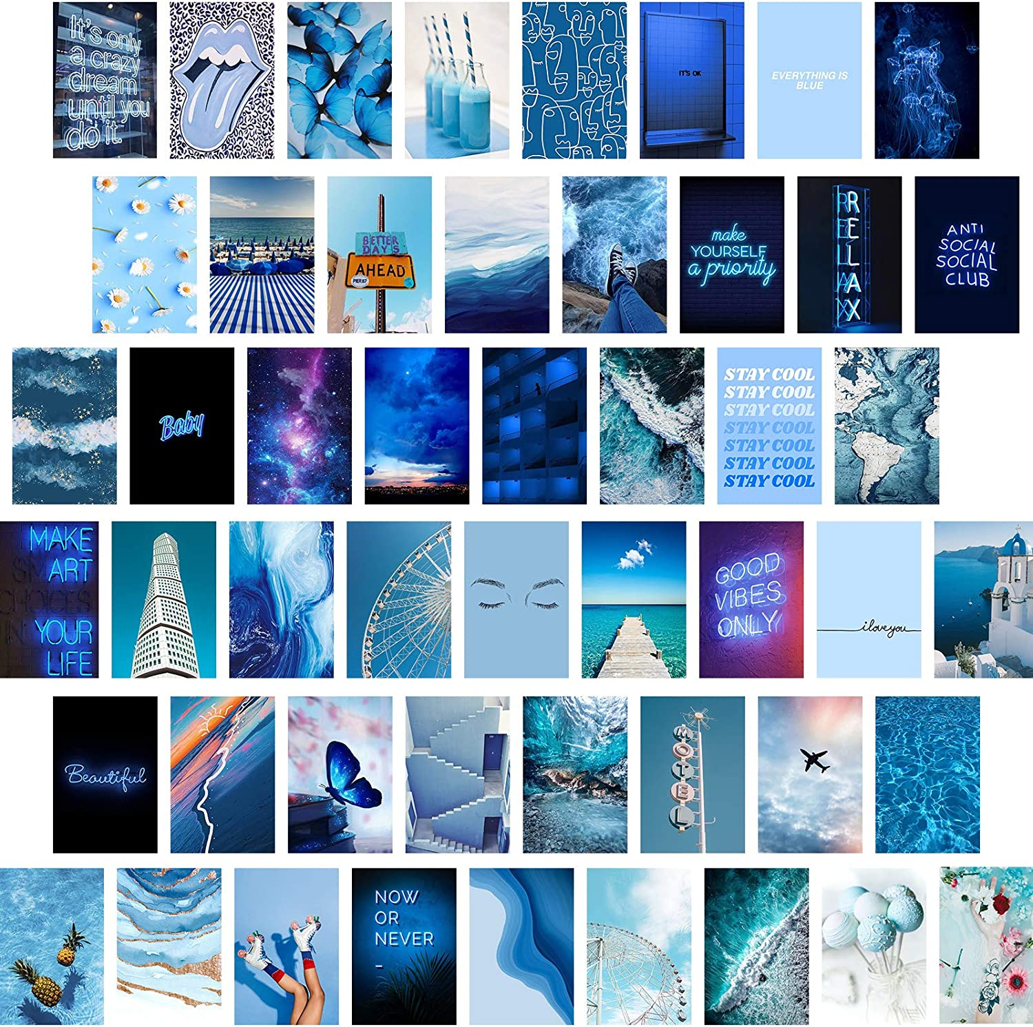 Gibelle Blue Wall Collage Kit Aesthetic Pictures, Aesthetic Room Decor for Teen Girls and Women, Cute Wall Decor for Bedroom, Aesthetic Posters Photos Wall Art, Vsco Room Decor, 50Pcs, 4x6 Inch
