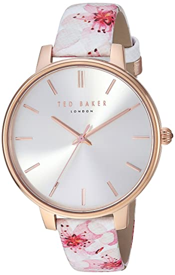 500dbb15e Ted Baker Women s 3 Hands Slim Kate Case Silver Dial Genuine Leather Strap  with Floral Design Watch (Model  TE50272002)  Amazon.ca  Watches