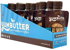 Superfood Almond Butter Packets by Yumbutter, Individual Snacks, Gluten Free, Vegan, Non-GMO, 1.8oz Packet (Pack of 10)