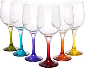 Coral Fame Large Rainbow Wine Glasses, Crystal Clear Barware with Colored Stems, Set of 6, 15 fl oz