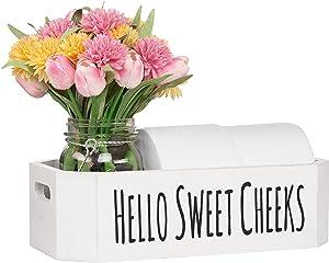 Hello Sweet Cheeks Bathroom Box - Cute Bathroom Decor for Back of Toilet Storage - Toilet Decor Shaped to Fit Toilet Tank - Bathroom Decor Box Toilet Organizer - Pure White - Warm Your Home