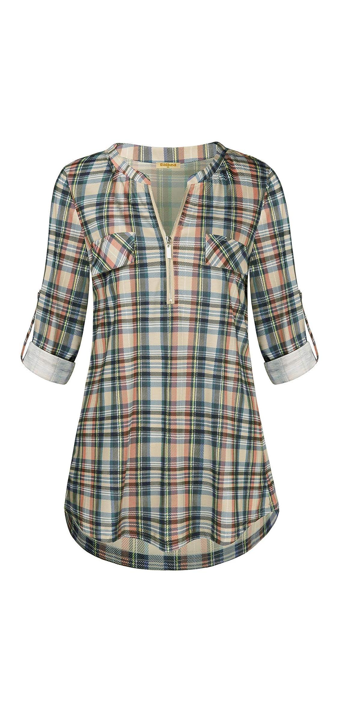 Baikea Women's / Rolled Sleeve Zipped V Neck Plaid