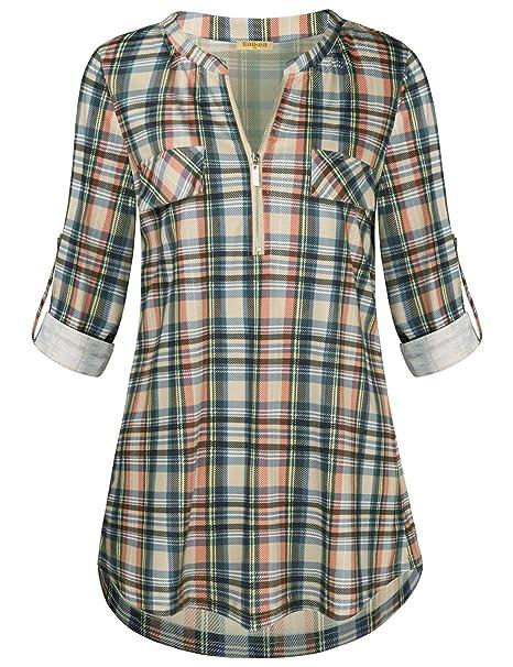 7a4f8dbca210 Baikea Zip-Front Blouse, Women Notch Neck 3/4 Sleeve Tartan Shirt Fake