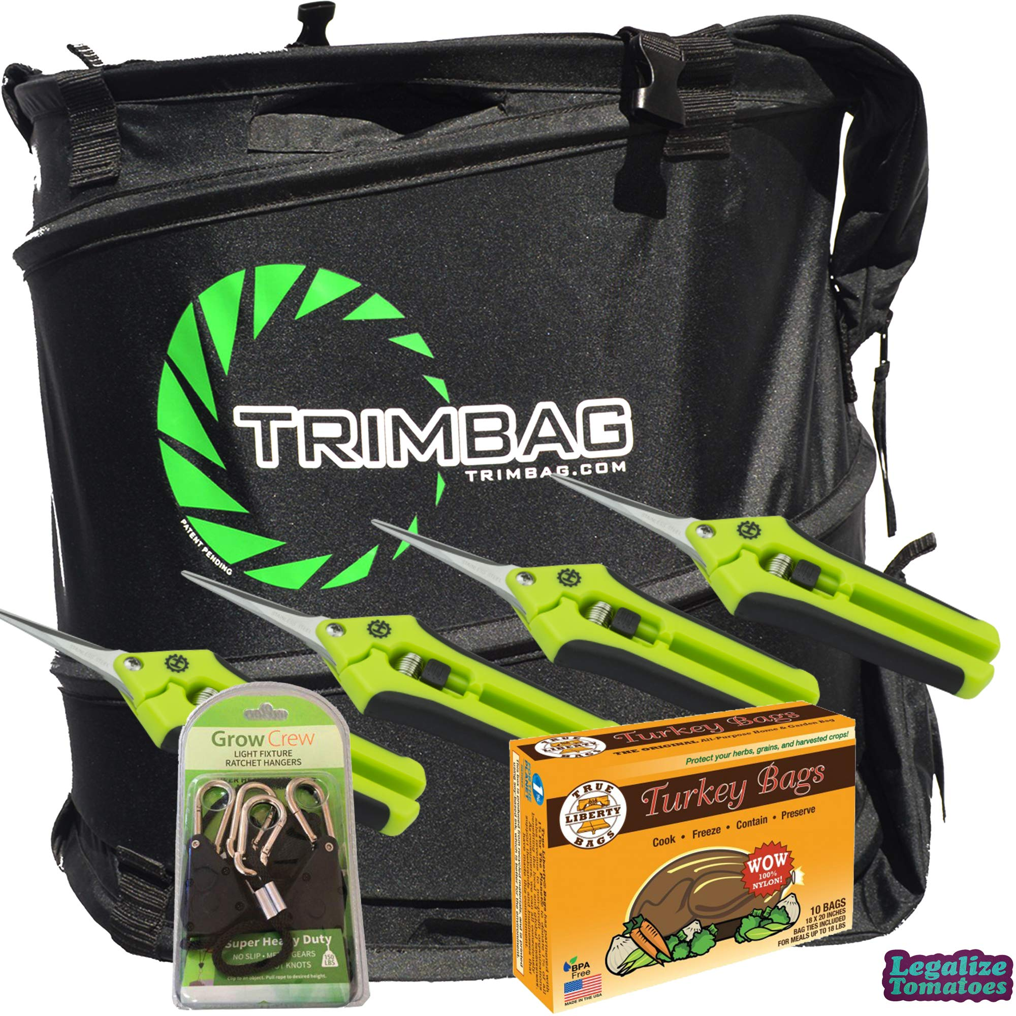 Trimbag Premium Complete Dry Trimming Kit Bundle with 4 Common Culture Trimming Scissors, 1 Pair of Grow Crew Ratchet Hangers, 10 Pack of Turkey Bags and Accessories (7 Items) by Trimbag