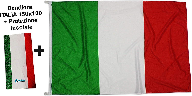 Bandera italiana + Bandana tubular bandera Italia 150 x 100 cm tejido náutico antiviento 115 gramos/m2, bandera de Italia con cordones o ganchos, doble costura perimetral, cinta de refuerzo: Amazon.es: Jardín