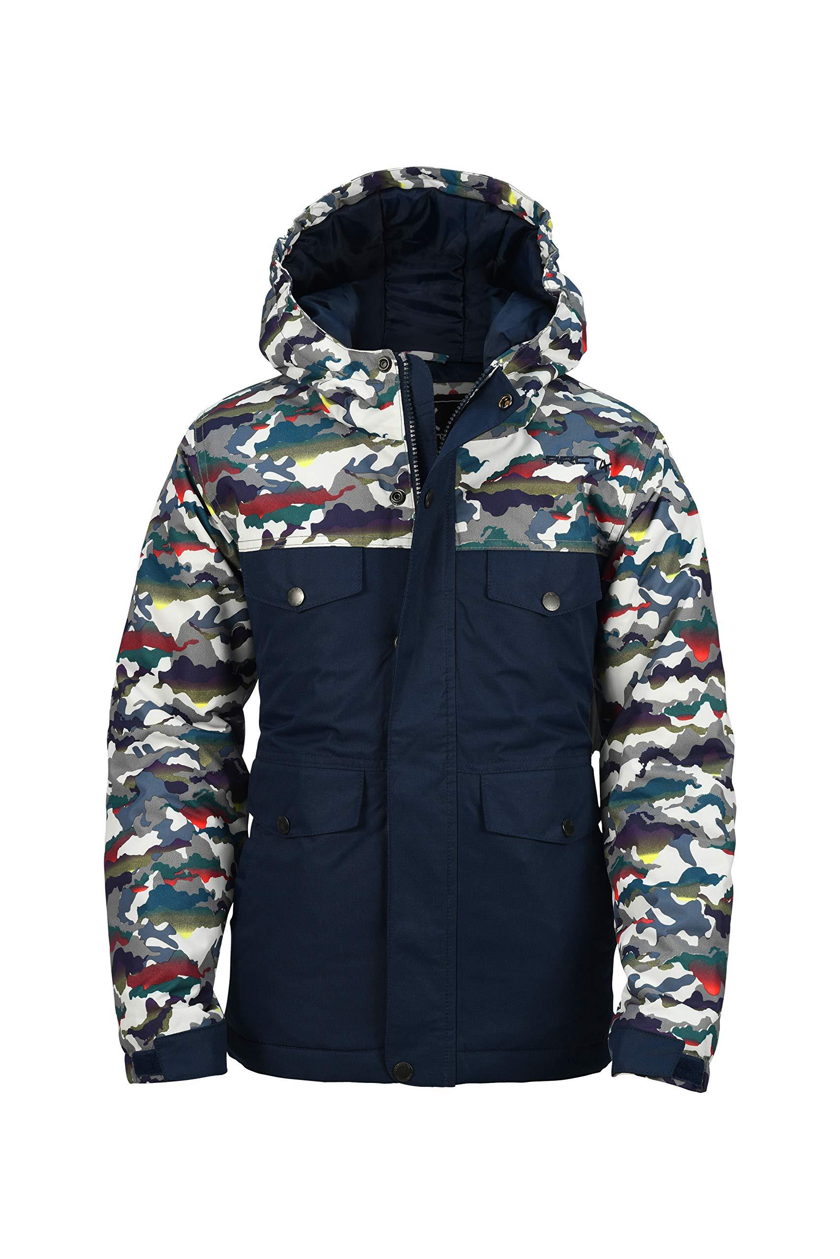 Arctix Boys Slalom Insulated Winter Jacket, White Multi Camo, Large by Arctix