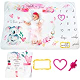 Jollyall Baby Monthly Milestone Blanket Girl,Baby Milestone Blanket Girl, Baby Age Blanket,Monthly Baby Girl Milestone Blanke