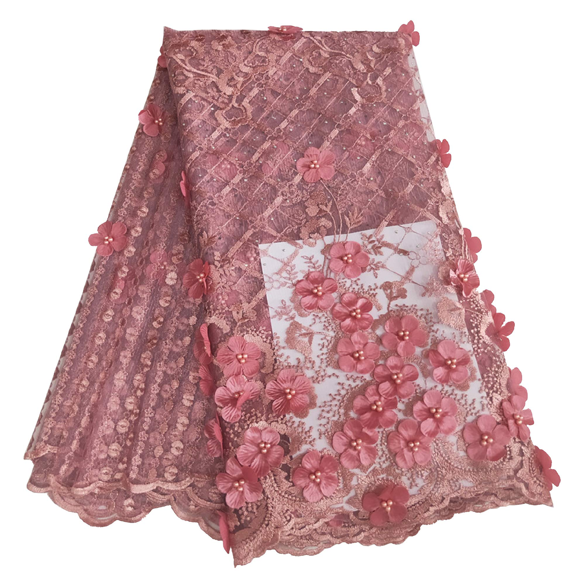 Milylace 3D Flower African Lace Fabric 5 Yards Nigerian French Tulle Lace Fabric with Beads and Stones for Wedding Dresses