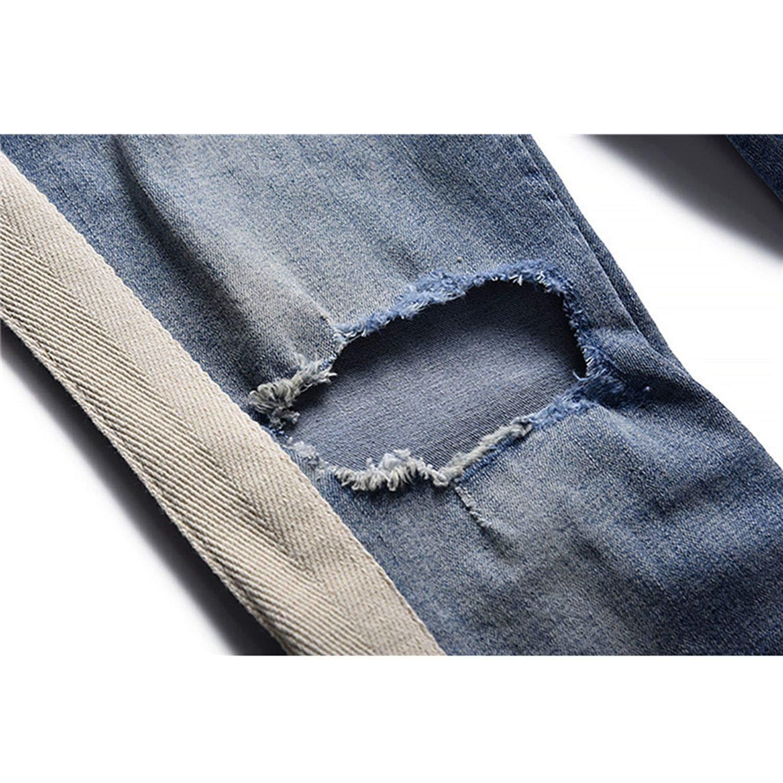 Side Stripe Patchwork Ripped Jeans Men Plus String 2019 Destroyed Denim Pants 2 Colors