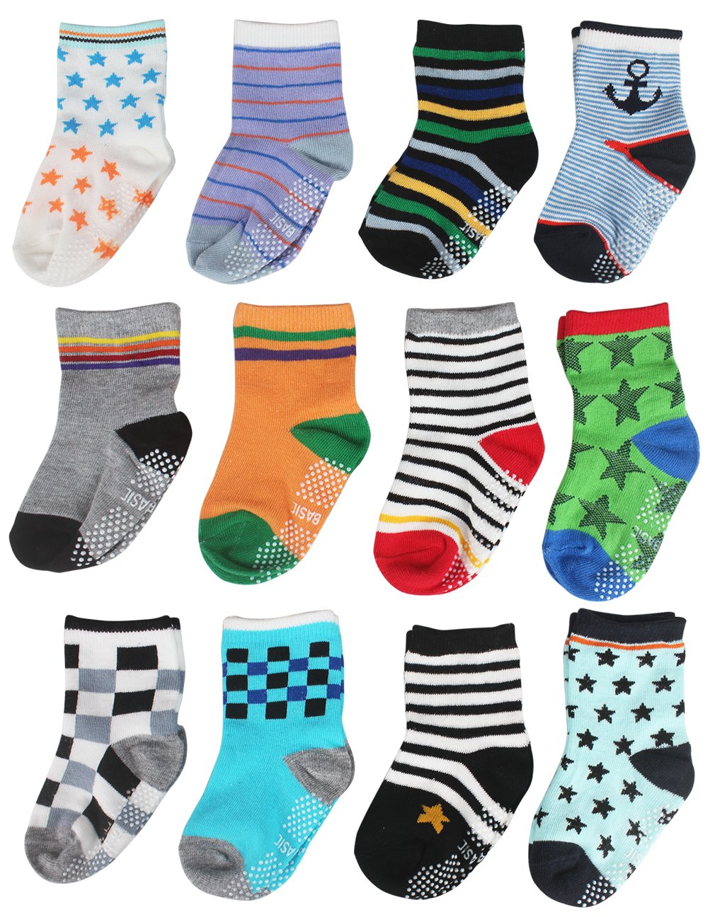 Cubaco Baby Socks, 12 Pairs Toddler Non Skid Anti Slip Cotton Socks with Grips