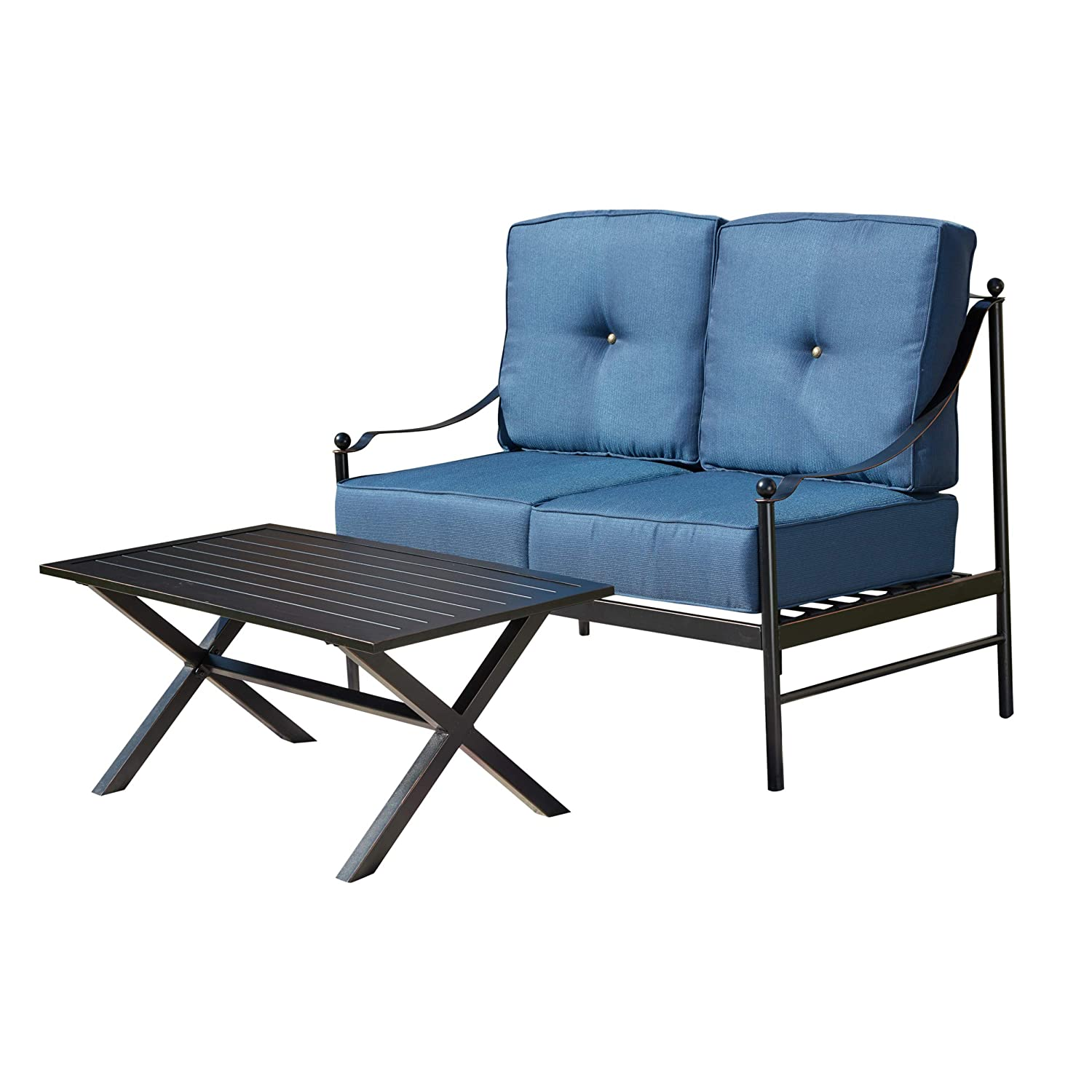 Blue LOKATSE HOME 2-Piece Outdoor Patio Loveseat Furniture Set with 1 Double Chair with Seat Cushions and 1 Coffee Table