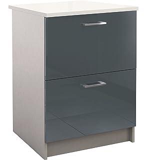 berlioz creations bas meuble de cuisine 2 tiroirs panneaux de particules gris 60