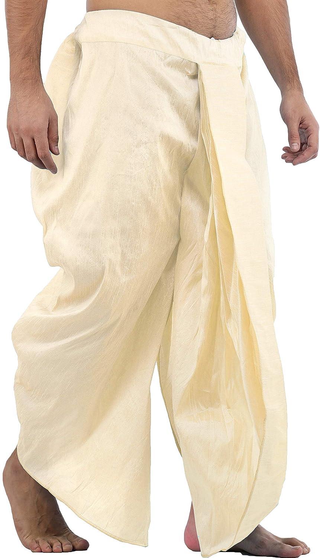 Maenner-Dhoti-Dupion-Silk-Plain-handgefertigt-fuer-Pooja-Casual-Hochzeit-Wear Indexbild 55