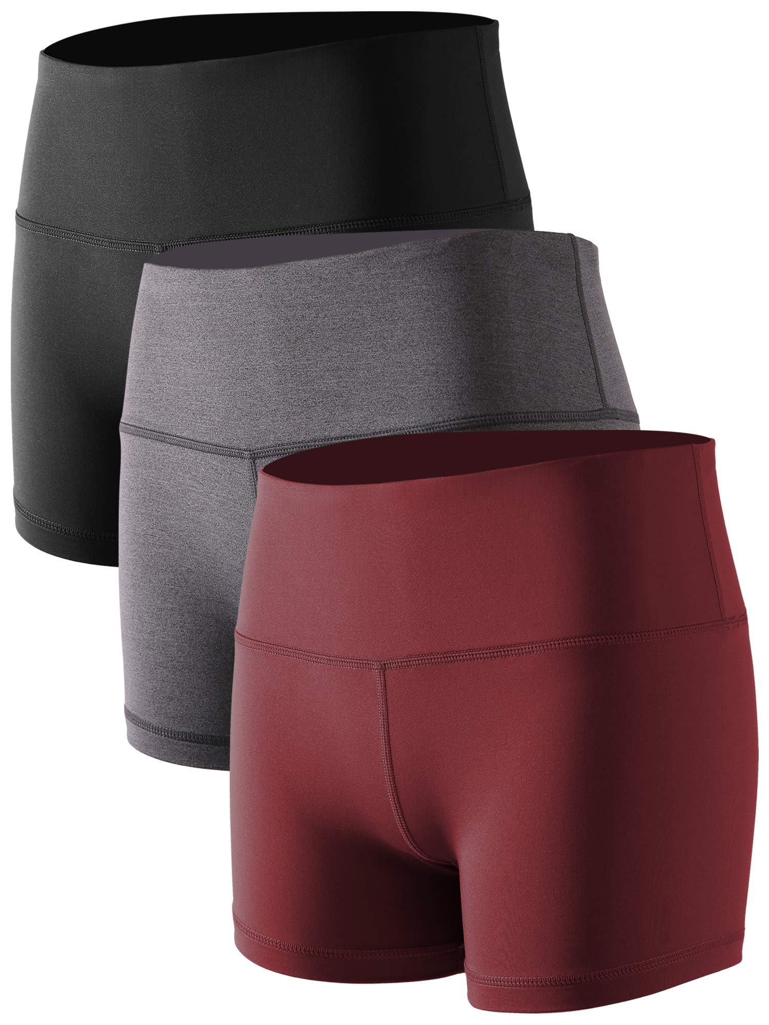 Cadmus Women's Stretch Fitness Running Shorts with Pocket,3 Pack,05,Black,Grey,Wine Red,Large by Cadmus