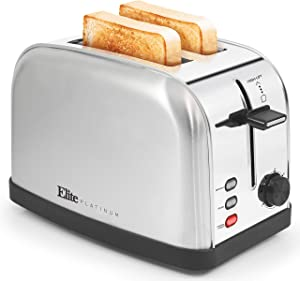 Maxi-Matic ECT-227 2 Slice Toaster, Bagel Defrost Cancel Functions, 7 Toast Shade Settings, Stainless Steel